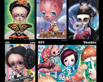 Mini Print/ postcard - Frida , Heart , Moongodess , Leia , Voodoo