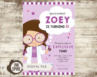 Girl Science Birthday Invitation, Science Party, Science Invite, Mad Scientist Birthday Invitation, Chemistry Birthday Invite, DIGITAL FILE
