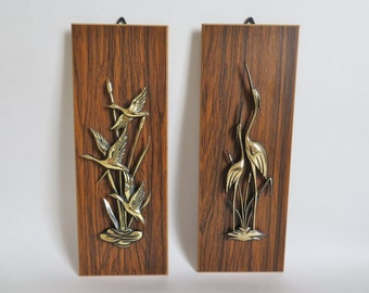 Faux Wood Plaques, Wooden Wall Hangings, 1970s Kitsch Decor, 3D Laminate Wooden Plaques with Plastic Crane Geese in Gold Tones