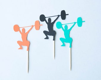 Overhead Squat Topper, Fitness Topper, Workout Topper, Fitness Party, Fitness Birthday,Weightlifting, Olympic Lifting