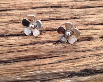 Little Flower stud earrings handmade in sterling silver