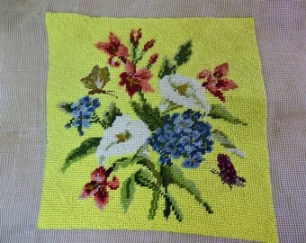Vintage tapestry, hand embroidered picture, unframed, cushion front, flowers and butterflies on yellow