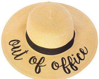 Floppy Beach Hat - Out of Office - Embroidered Large Brim Sun Hat - Floppy Hat - Vacation - Summer - Boat Hat - Pool Sun Hat - Beach Sun Hat