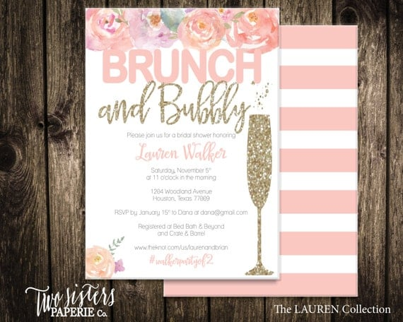 floral brunch and bubbly bridal shower invitation lauren