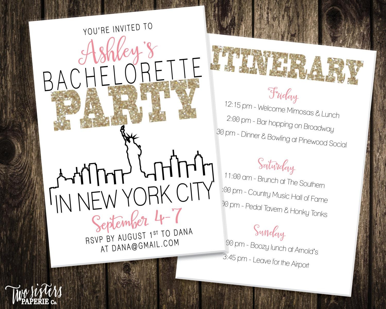 New york city bachelorette party invitation itinerary new for Best cities for bachelorette parties