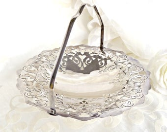 Silver Plated Basket Bowl, Silver Bowl with Handle, French Farmhouse, Filigree, Cottage Chic Bowl, Shabby Chic Decor
