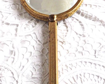 Hand Held Vanity Dresser Mirror, Shabby Chic Boudoir, Cottage Chic French Farmhouse Beveled Hand Mirror