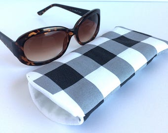 Padded Sunglass Case, Checkered Sunglass Pouch, Large Sunglass Case, Metro Sunglass Case