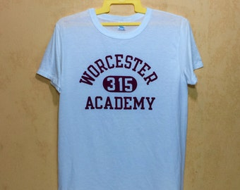 80s CHAMPION Vintage Worcester Academy -315- T-shirt 50/50 Blend Polyester Cotton Mens Xlarge Size Made In Usa