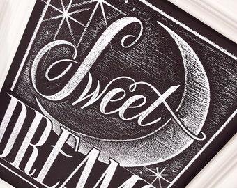 Sweet Dreams Chalkboard PRINT, Sweet Dreams Sign, Nursery Chalkboard Print, Baby Room Wall Art, Moon and Stars Nursery, Giclee PRINT