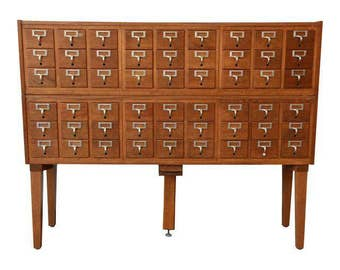 SOLD - Vintage 54-Drawer Wood Library Card Catalog