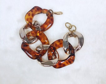 Tortoise shell & Gold Chunky Chain Bracelet, Gold Chain Bracelet, Statement Gold Bracelet, Fashion Bracelet