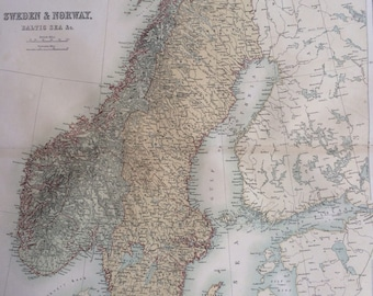 1859 SWEDEN and NORWAY extra large rare original antique A & C Black Map with inset map showing relative position and climate of Norway