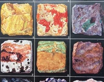 1880 Ores of Metals Original Antique Print, 10 x 12 inches - matted & ready to frame - Quartz, Malachite, Azurite, Copper, Realgar, Noumeite