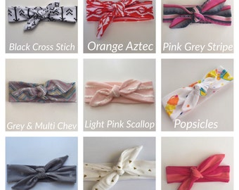 Pick 2!! Baby Girl Knotted headbands, knot headband, baby girl headband, newborn headband