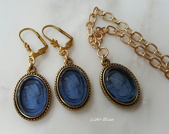 Blue Cameo Set, Vintage Cameo, Earrings and Necklace Set