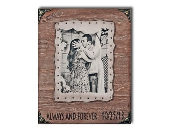 Custom Leather Photo Wood Portrait Photo On Leather Wooden Photograph 5th Anniversary Gift Custom Photo On Wood Portrait On Wood Engraved