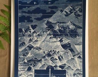 The geology Larousse - draw Cyanotype - mountains