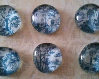 Blue Delft Style Glass Refrigerator Magnets