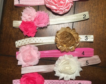 Floral Everyday Headbands/Elastics for 6-12 Months/1 Year