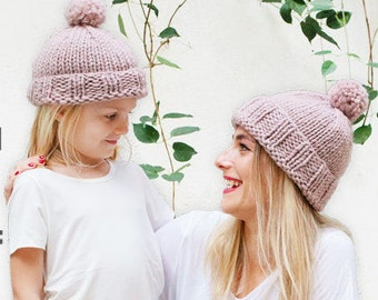 Knitting Pattern: Easy Matching Hat for Women, Kids and Baby, Chunky Hat Pattern, Pom Pom Hat Pattern, Kids Pom Pom Hat,  PDF Pattern