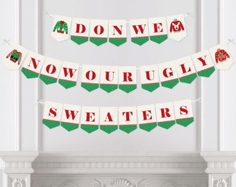 Ugly Sweater - Bunting Banner - Personalized Holiday Party Decorations