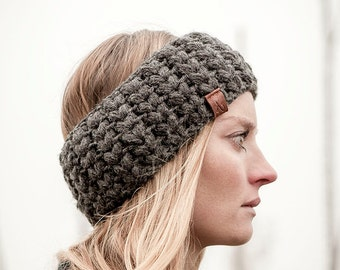 anthrazit, designer Headband IDA, handmade, crochet, wool, winter, hat, ear warmer, ladies,  available in different colors