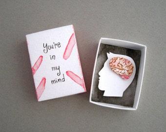Paper diorama, matchbox art, in my mind, girlfriend gift, anatomical brain, paper art, miniature art, Valentines day gift, matchbox card