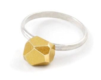 Sterling Silber Ring, Gold-Nugget, Meteor Ring für sie, geometrische Ring, Sterling Silber Verlobungsring, RSB013