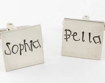 Sterling Silver Square Cufflinks - Custom Hand Stamped Men's Cuff Links - Shirt Fasteners - Father's Day Gift for Dad or Grandpa - Husband