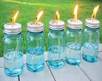 4th of July Outdoor Lighting,Mason Jar Tiki Torches,July 4th Patio Light,Summer Outdoor Decor,Outside Lighting,Summer Decor,Patio Light