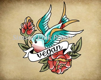 Canvas/Wood - Vegan Bird Tattoo Flash Print