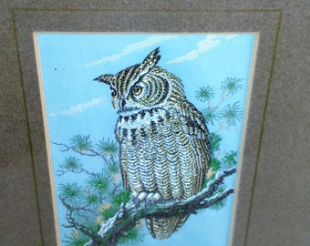 Woven Picture Art Of An Owl Birched In A Tree/Made Of Woven Silk By J.&J. Cash, England Wooden Frame/Original Label/Great Used Condition (N)