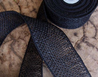 "SALE!! 2"" Black Burlap Wired Ribbon - Sold in 10 Yard Rolls"