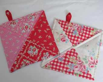 Handmade Potholders Set of 2 Quilted Potholders Pinks Red White Floral Gingham Prints 9 1/4 x 9 1/4 Square Potholders