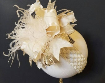 Ivory And Gold Over The Top Boutique Hairbow Headband Ostrich Feather