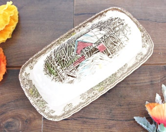 """Johnson Brothers """"The Friendly Village"""" Butter Dish   Covered Butter Dish, English Butter Dish, Vintage Butter Dish, Johnson Brothers Butter"""