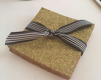 gold coasters, gold glitter coaster, glitter home decor, girly home decor,gift for her, gold gifts