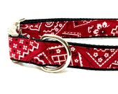 Red Bandanna Dog Collar, Leash or Step In Harness with Personalized Metal Buckle Upgrade