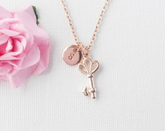 rose gold key Necklace, rose gold, rose gold key, rose gold key Pendant, Love Jewelry, Wedding Jewelry, Anniversary Gift, Bridal Party Gift