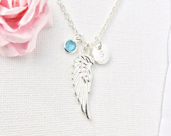 silver angel wing Initial and birthstone necklace, angel wing necklace, birthstone necklace, initial necklace, guardian angel necklace