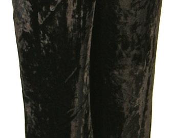 Black Silk Velvet High Waist Pants Lined with Silk