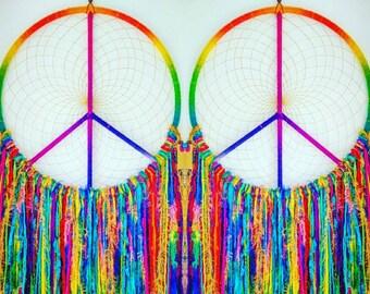 Massive Peace sign dream catcher 65cm hoop tails over 1meter