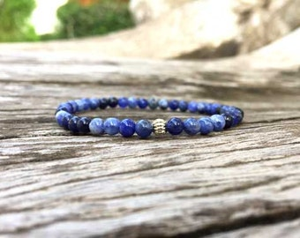 4mm Sodalite Stone Bracelet, Beaded bracelet, Beadwork bracelet, Stretch Bracelet, Gemstone Bracelet, Stone Bracelet, Women Bracelet