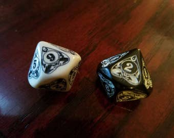 Ouija D10 Pair: Unique dice for Role Playing and Magic the Gathering