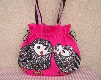 Bag pink shoulder bag OWL owls balloon bag