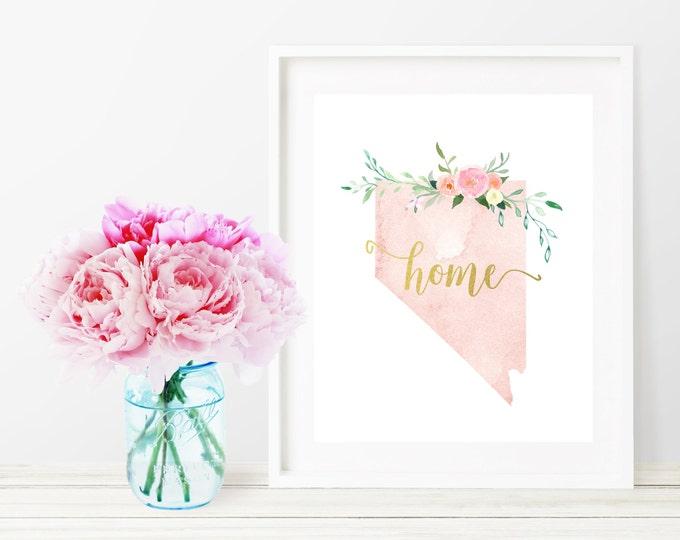 Nevada State Silhouette Art Print, Pink Watercolor Map Printable Home Nursery Decor, Floral Wall Art, Gold 8x10 Art Print, Dorm Decor