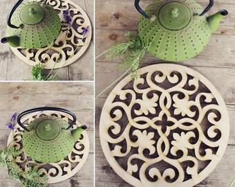 Wood Trivet | Large wood coaster | Housewarming Gift | Kitchen accessory