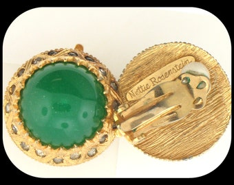 Vintage Signed Nettie Rosenstein Poured Green Glass & Rhinestone Clip On EARRINGS C1950