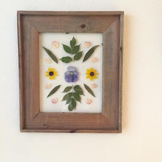 Flower Mandala Herbarium Art- Floating Framed Botanical Art 8x10 - Reclaimed Wood Framed Art -Framed Floral Art-Pansy & Blackeyed Susans